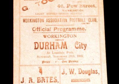 Workington v Durham City 28.11.1925