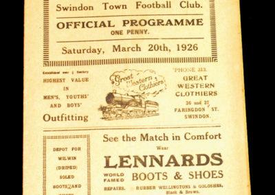 Swindon v Plymouth 20.03.1926