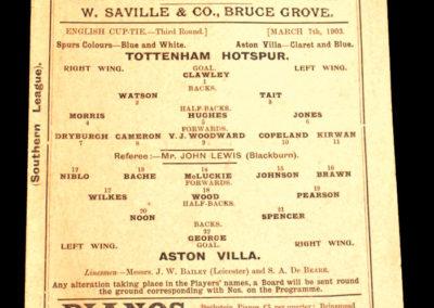 Tottenham Hotspur v Aston Villa 07.03.1903