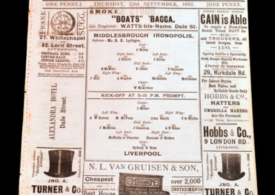 Liverpool v Middlesbrough Ironopolis 22.09.1892 Very early days for Liverpool. Ironopolis didnt survive.
