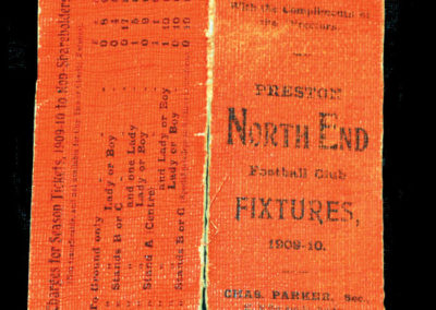 Preston North End Fixture Card 1909/1910