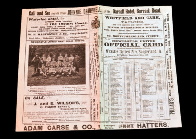 "Newcastle A v Sunderland A 31.12.1898Newcastle`s first season in the ""premier"" league. Jack Peddie got most of the goals. Probably the 1st great Geordie No 9."