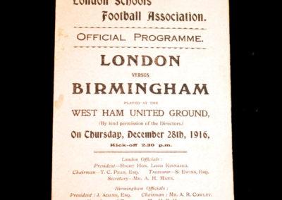 London Boys v Birmingham 28.12.1916