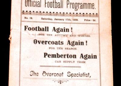 Crewe Alexandra v Manchester City Reserves 17.01.1920