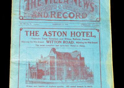 Aston Villa v Sunderland 21.02.1920