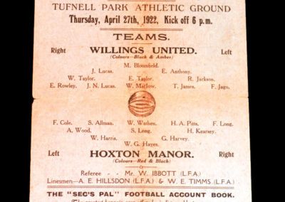 Willings United v Hoxton Manor 27.04.1922