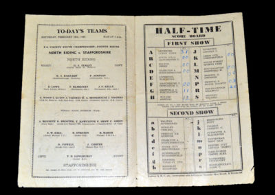 North Riding v Staffordshire 19.02.1949 County Championship