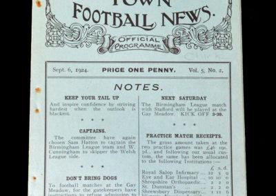 Shrewsbury v Chirk 06.09.1924