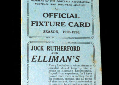 Brighton Fixture Card for 1925/26 Season