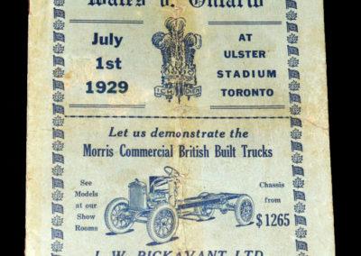 Ontario v Wales 01.07.1929