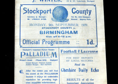 Stockport Reserves v Birmingham Reserves 09.09.1929