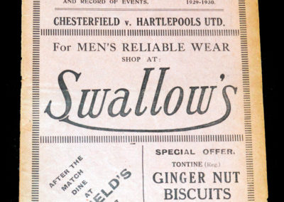 Chesterfield v Hartlepools Utd 25.01.1930