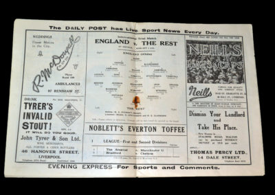 England v The Rest 12.03.1930 (International Trial at Liverpool)
