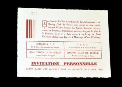 Racing Club Paris 08.06.1930 (admission card)