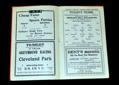 Middlesbrough Reserves v Newcastle Reserves 04.10.1930