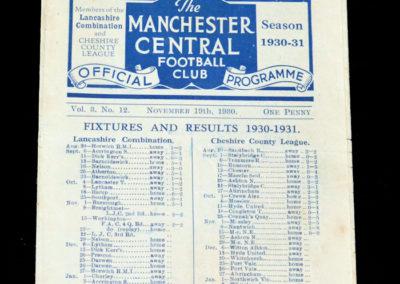 Manchester Central v Workington 19.11.1930