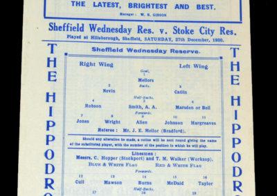 Sheff Wed Reserves v Stoke Reserves 27.12.1930