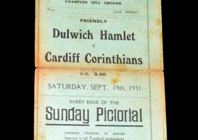 Dulwich v Cardiff Corinthians 19.09.1931