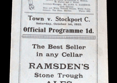Halifax v Stockport 01.10.1932