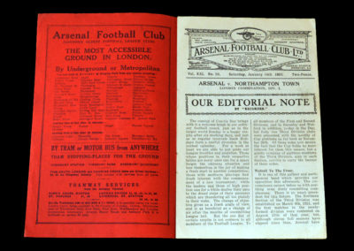 Arsenal Reserves v Northampton Reserves 14.01.1933