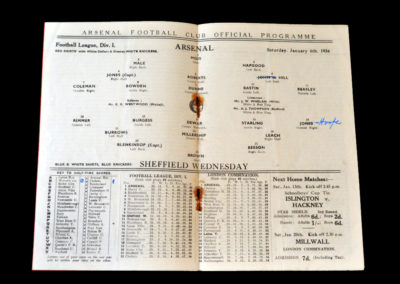Arsenal v Sheff Wed 06.01.1934