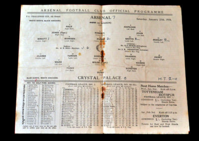 Arsenal v Crystal Palace 27.01.1934