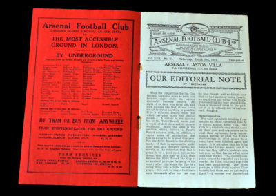 Arsenal v Aston Villa 03.03.1934