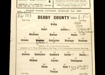Derby v Sunderland 02.02.1935