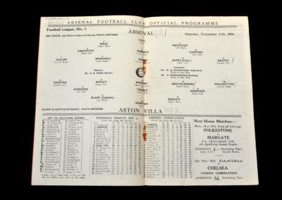 Arsenal v Aston Villa 17.11.1934