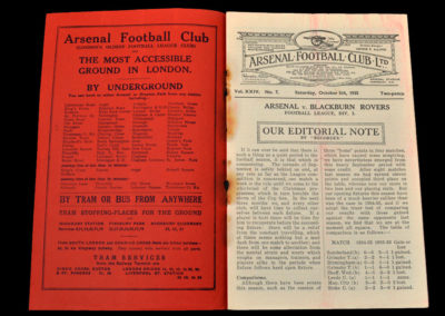 Arsenal v Blackburn 05.10.1935