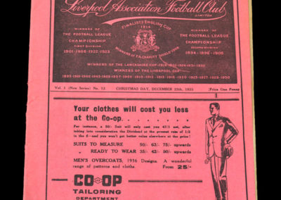 Liverpool v Arsenal 25.12.1935