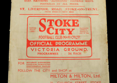 Stoke v Chelsea 25.12.1936 stan & father in law running a sports shop