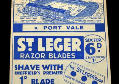 Sheff Wed v Port Vale 16.01.1937