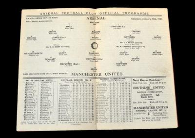 Arsenal v Manchester Utd 30.01.1937