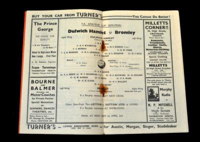 Dulwich v Bromley 20.03.1937 - (FAAC Semi Final at Crystal Palace)