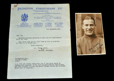 """Letter """"Chit"""" for Ted Wingfield 02.09.1937 & Signed Photo"""
