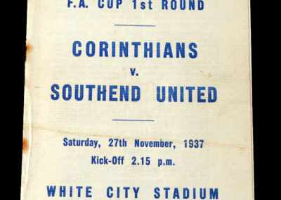 Corinthians v Southend United 27.11.1937 0-2