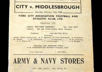 York City v Middlesbrough 12.02.1938 grandad there to witness another great Boro disappointment