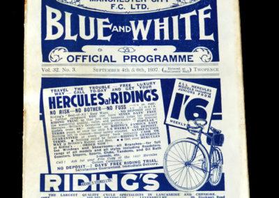 Man City v Leicester 04.09.1937 | Man City v Everton Reserves 06.09.1937
