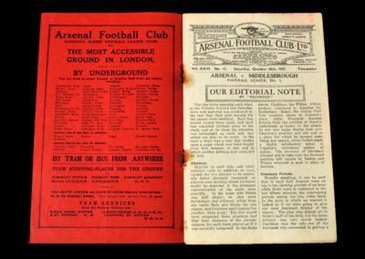 Arsenal v Middlesbrough 30.10.1937