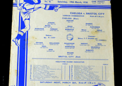 Chelsea Reserves v Bristol City Reserves 19.03.1938