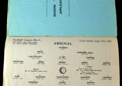 Brentford v Arsenal 15.04.1938 (with season ticket insert)