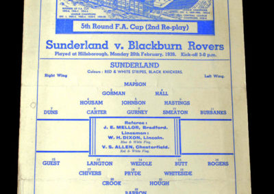 Sunderland v Blackburn 20.02.1939 5th rd 2nd rep 0-1