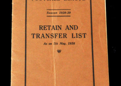 Retain & Transfer List 1938/39