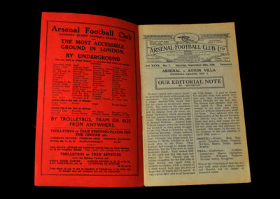 Arsenal v Aston Villa 24.09.1938