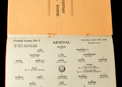 Arsenal v Man Utd 15.04.1939