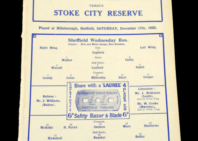 Sheff Wed Reserves v Stoke Reserves 17.12.1932