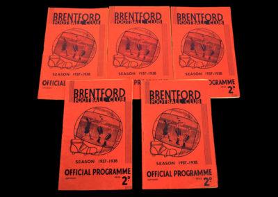 Brentford v Blackpool 16.09.1937 | v Charlton 16.10.1937 | v Portsmouth 30.10.1937 | v Middlesbrough 13.11.1937 | v West Brom 27.11.1937