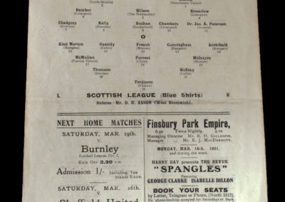 Football League v Scottish League 12.03.1921