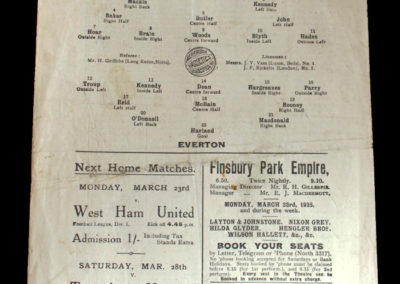 Arsenal v Everton 21.03.1925 Dixie Dean debut for Everton